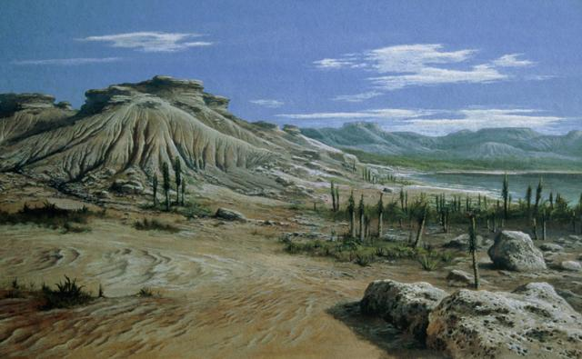 Triassic landscape after a mass extinction of animals