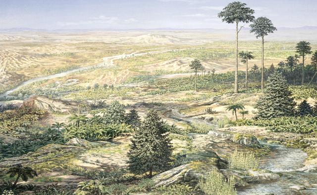 Landscape during the Triassic period