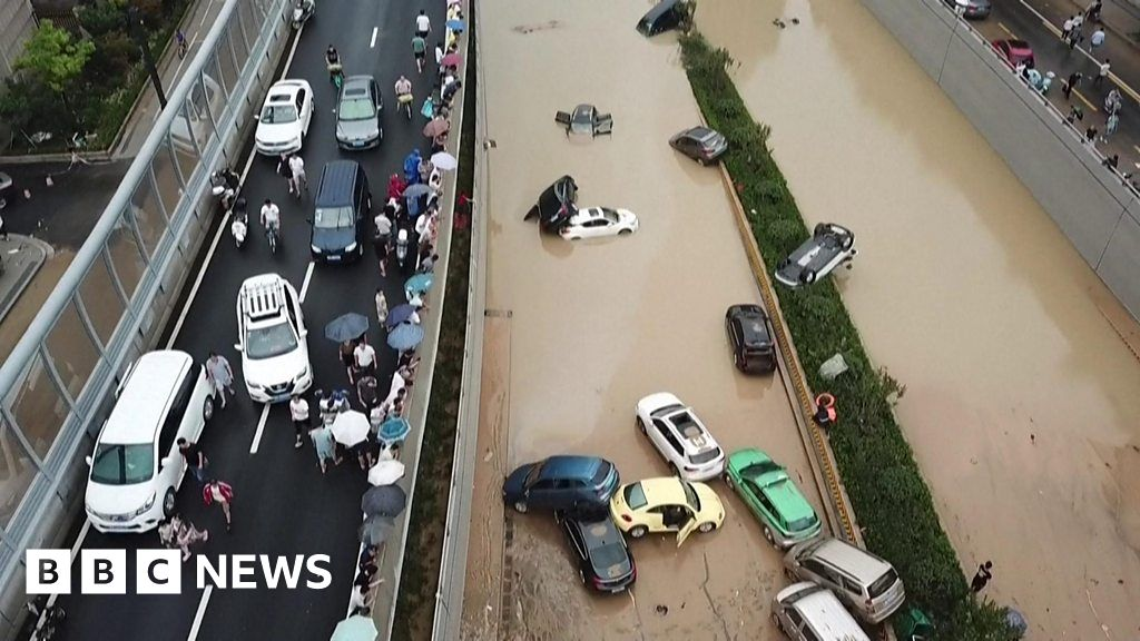 China floods: Drone footage shows the scale of damage as clean up begins