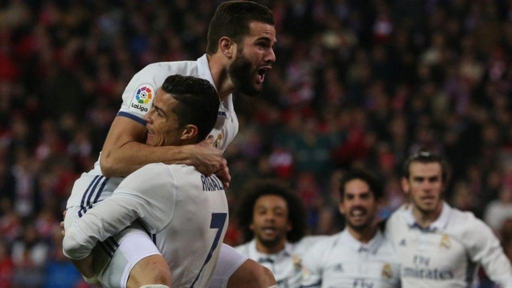 اخبار الامارات العاجلة _92566130_036486264 ريال مدريد يفوز على أتليتيكو بثلاثة أهداف سجلها رونالدو أخبار الرياضة  أخبار الكرة