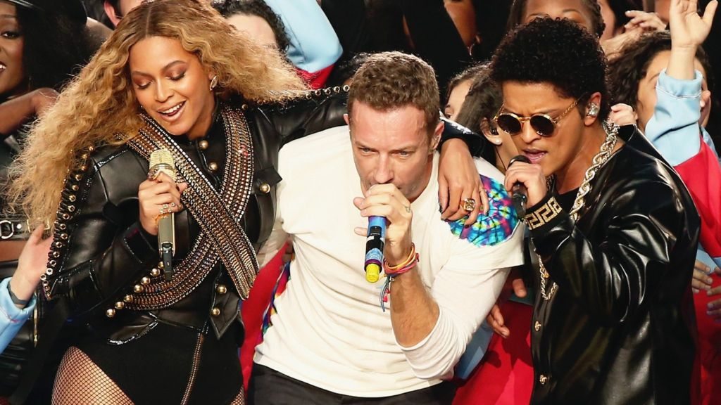 Coldplay, Beyonce and Bruno Mars perform at Super Bowl show ...