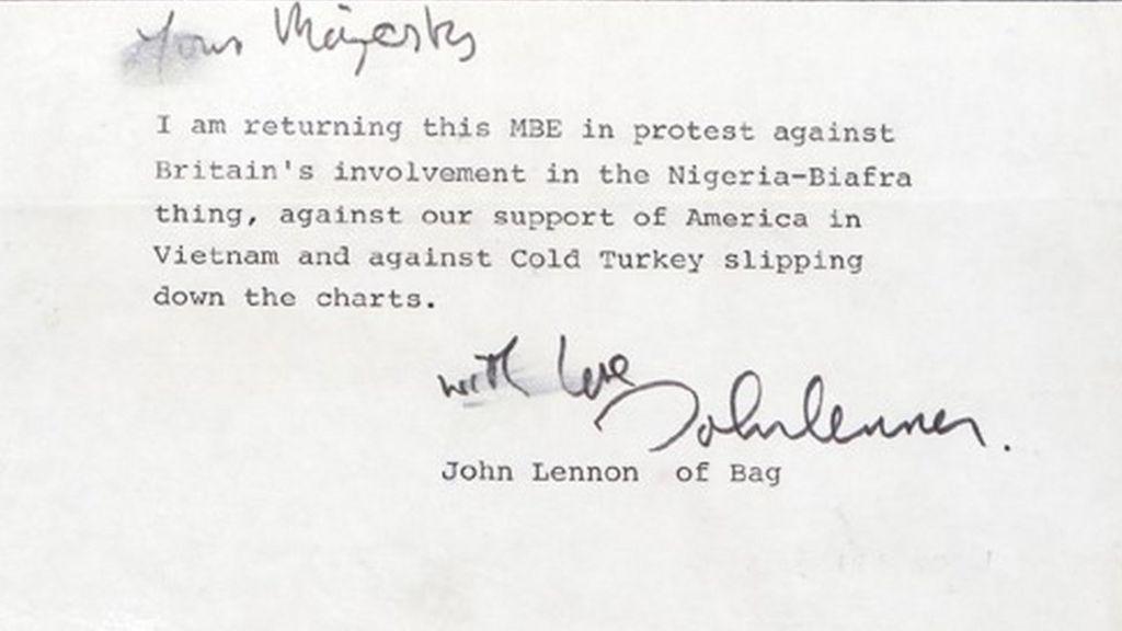 John Lennon MBE Return Letter Valued At GBP60k
