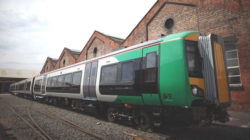 A train stands in the grounds of railway carriage manufacturer Bombardier on July 5, 2011 in Derby, United Kingdom