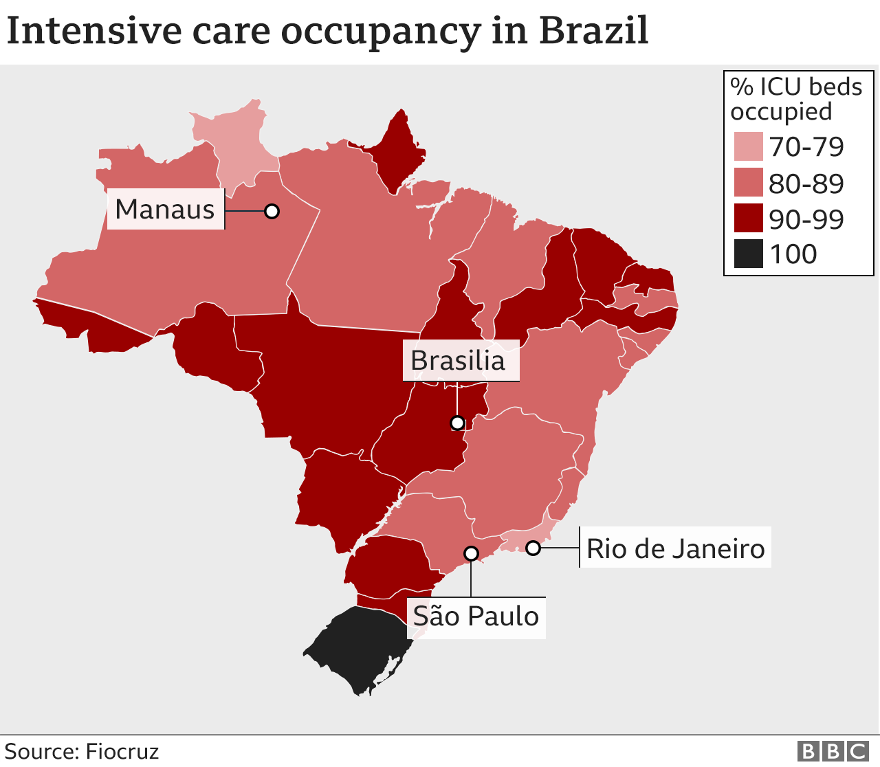 Map showing ICU occupancy across Brazil