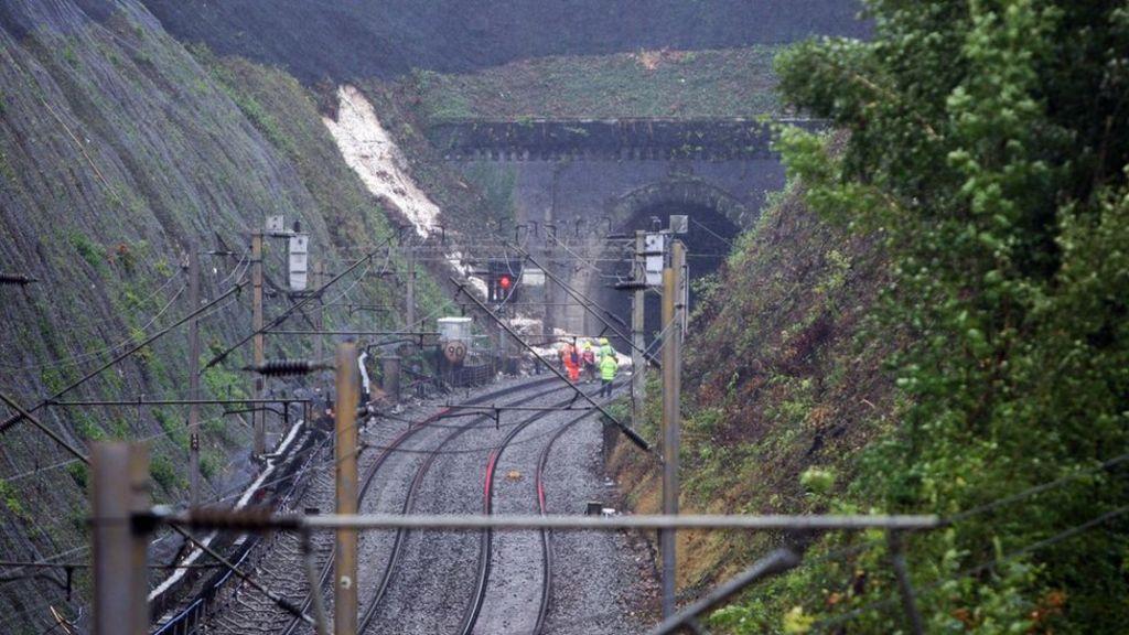 Lansdlide on railway line near Watford