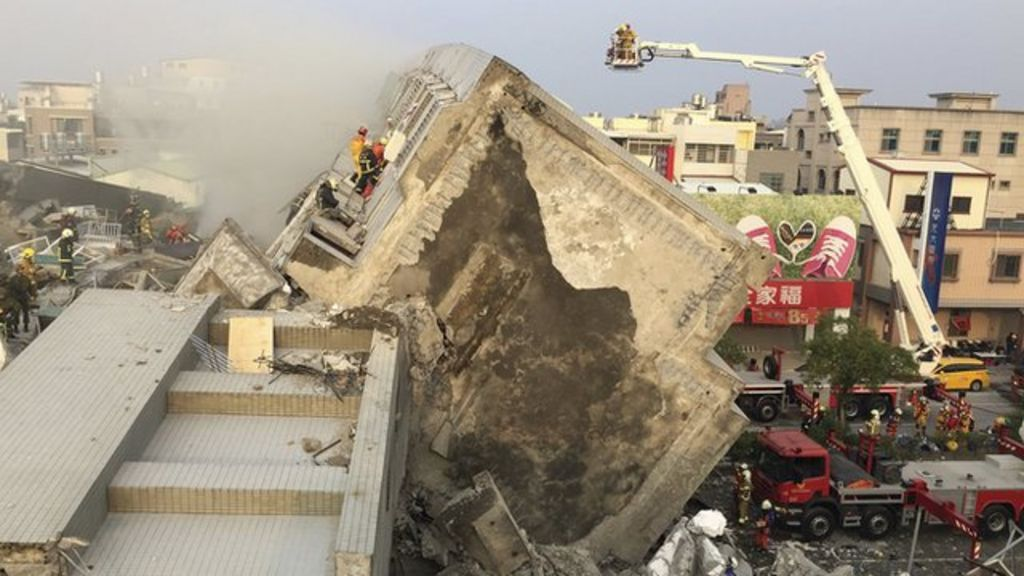 Taiwan quake: Drone footage shows one collapsed building