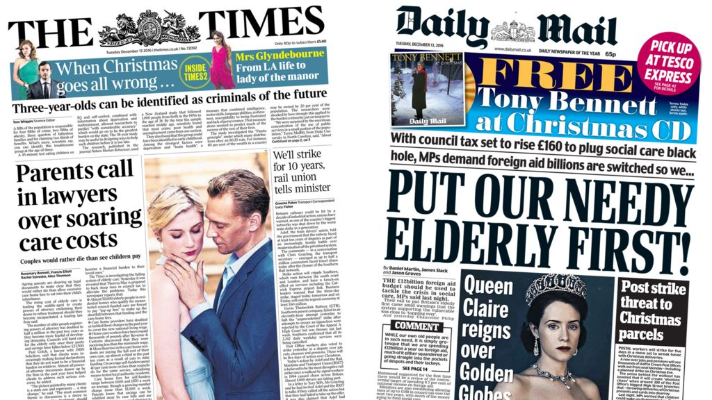 News Headlines Picture: Newspaper Headlines: Care Costs 'legal Action' And 'Save