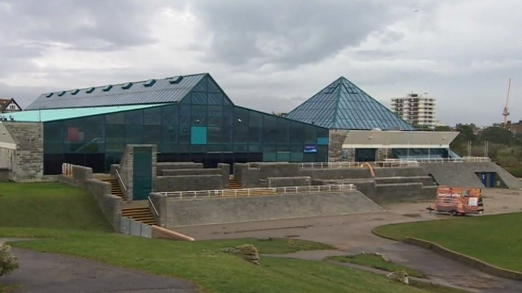 Storm hit portsmouth swimming pool remains closed for repairs bbc news portsmouth news for Pyramid swimming pool portsmouth