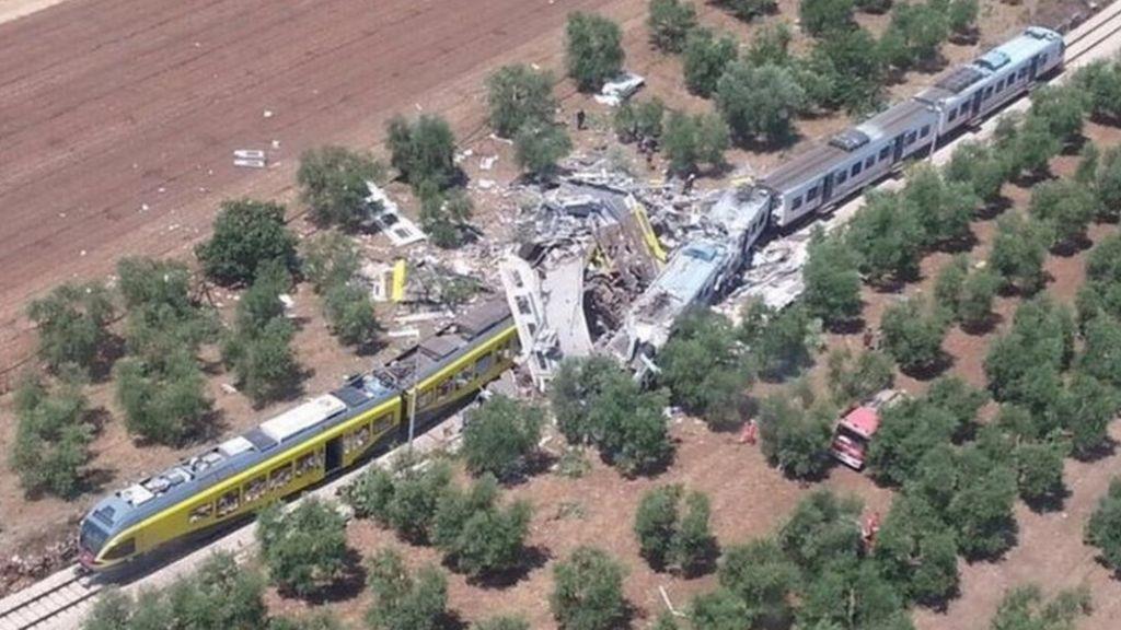 Italian train crash scene near Andria