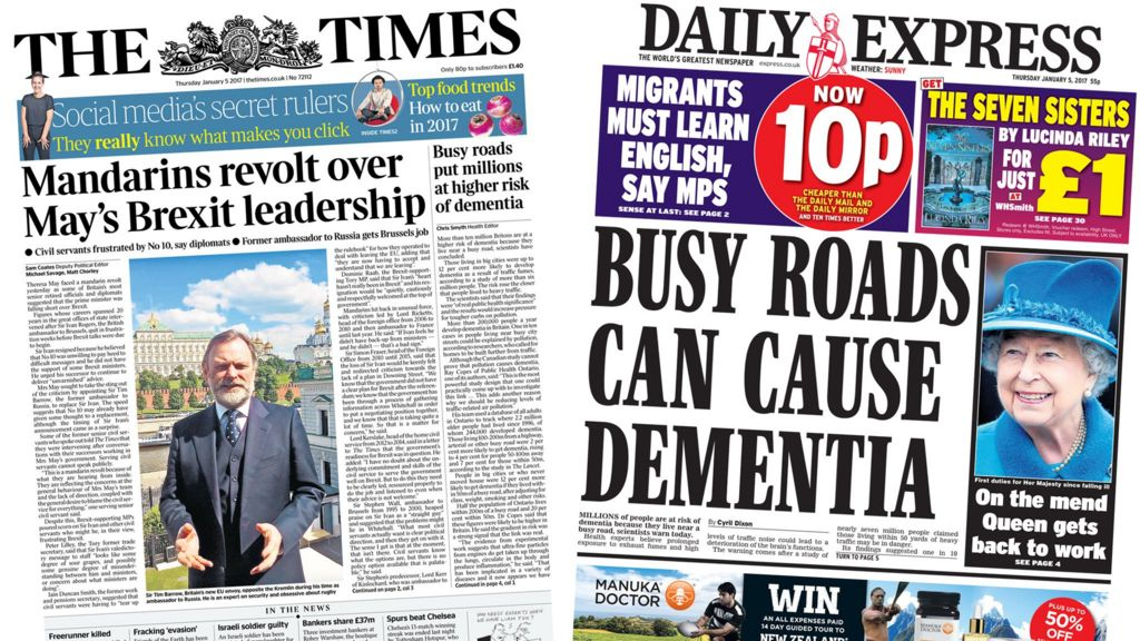Brexit News: Newspaper Headlines: Brexit Fallout And Roadside Dementia