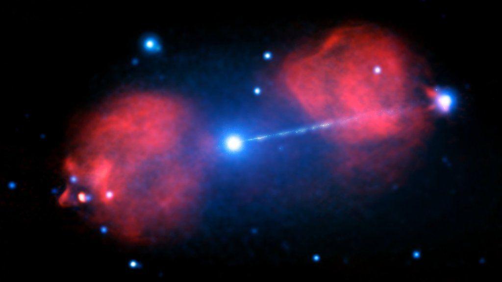 Black hole's twin jets shine bright, somehow - BBC News