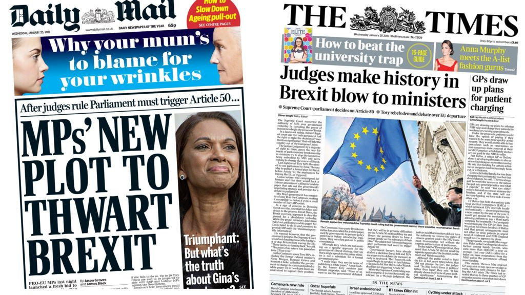 News Headlines Picture: Newspaper Headlines: MPs' 'new Plot To Thwart Brexit