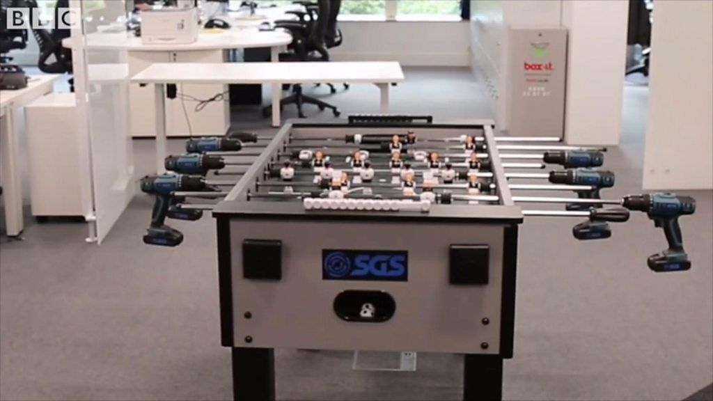 Derby firm creates table football with power drills bbc news for Table th width ignored