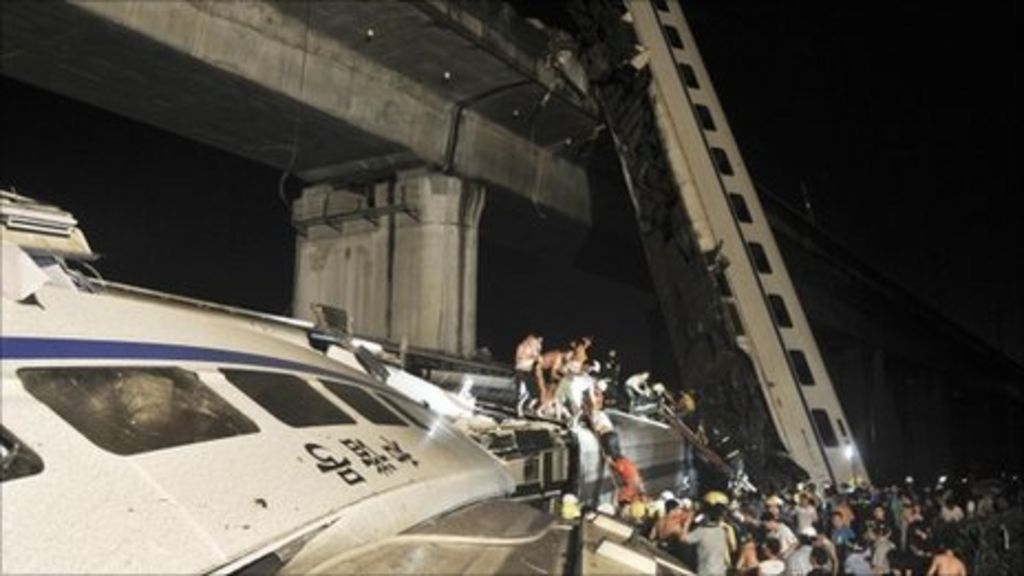 Site of train rescue in Zhejiang, China, 23 July