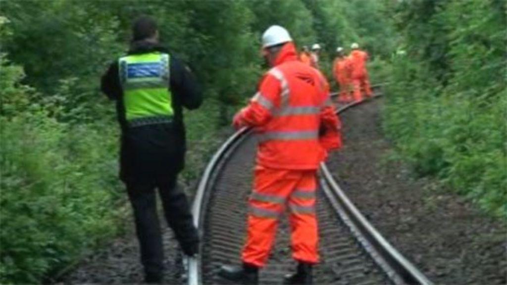 Line near rail derailment