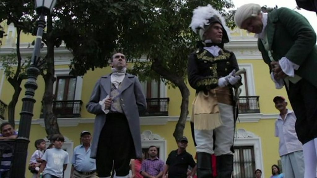Coming face to face with Simon Bolivar on the streets of Caracas ...