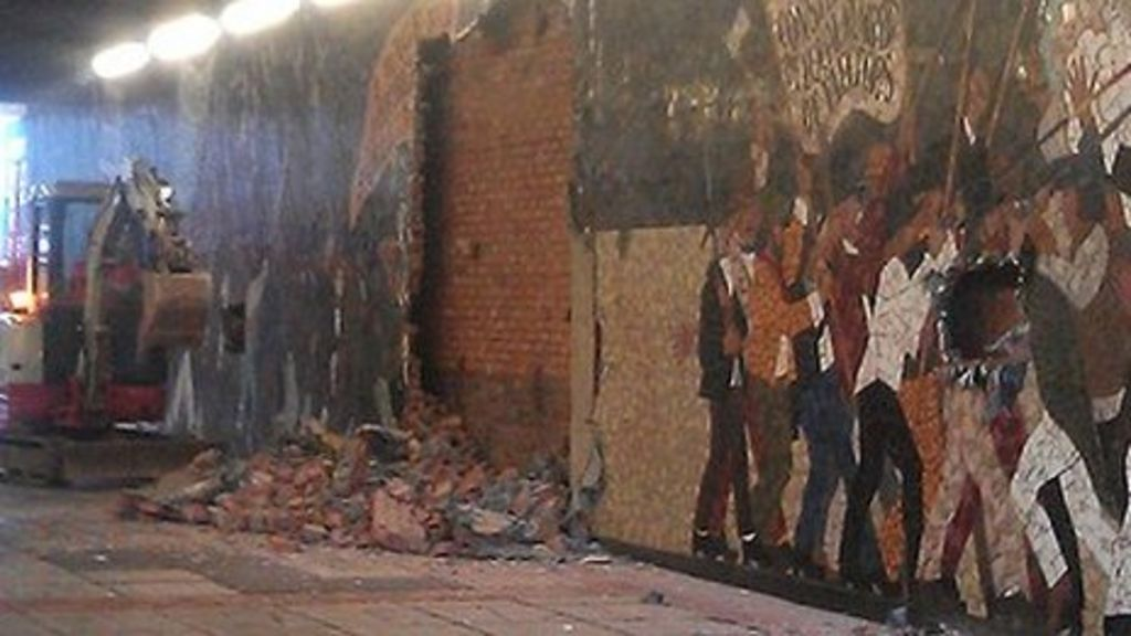 Newport chartist mural protest as demolition takes place for Chartist mural newport