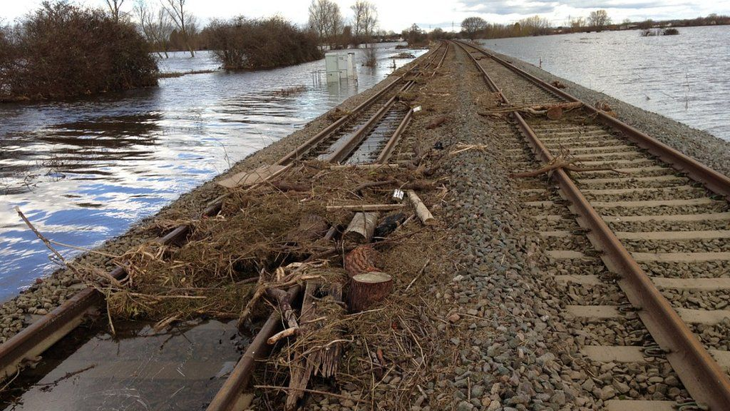 Train track between Taunton and Bridgwater