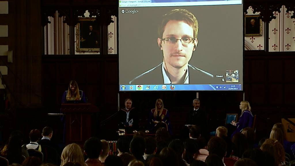 Edward Snowden installed as Glasgow University rector - BBC News