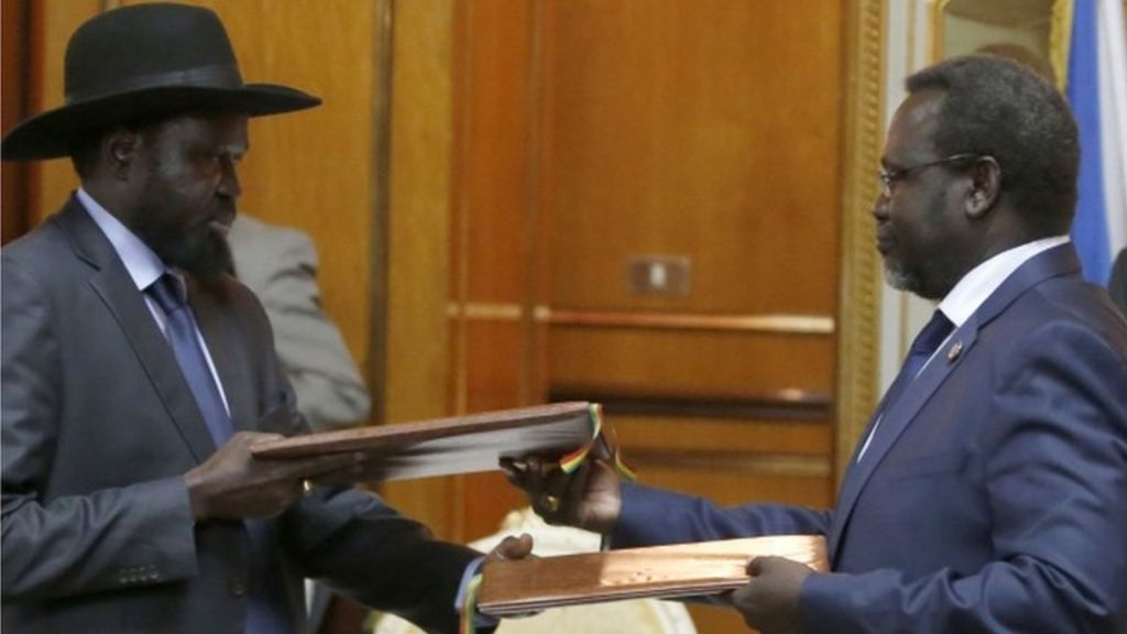 South Sudan rivals Kiir and Machar agree peace deal - BBC News