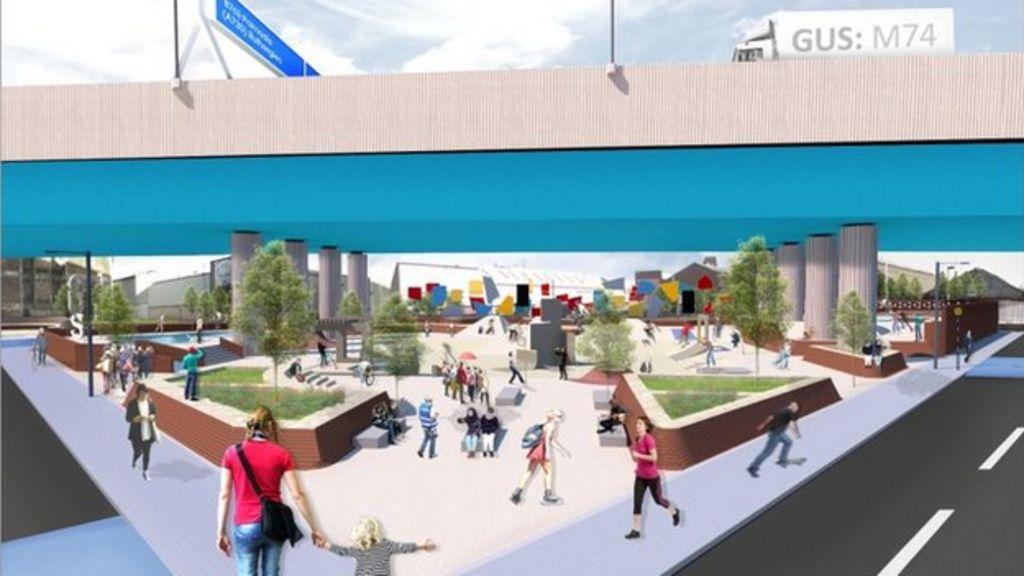 urban park plan for under glasgow m74 motorway flyover