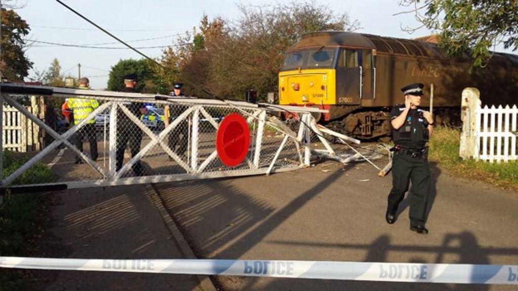 Scene of rail crash in Lingwood