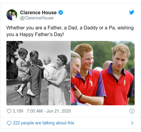 Twitter post by @ClarenceHouse: Whether you are a Father, a Dad, a Daddy or a Pa, wishing you a Happy Father's Day!
