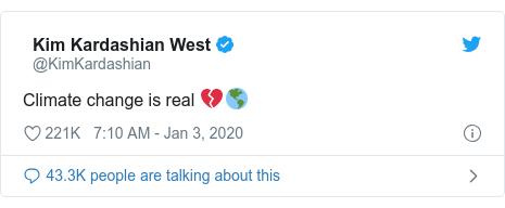 92彩票网平台 post by @KimKardashian: Climate change is real 💔🌎