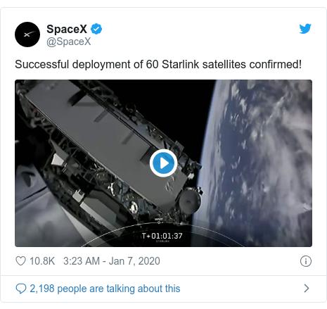 92彩票网平台 post by @SpaceX: Successful deployment of 60 Starlink satellites confirmed!