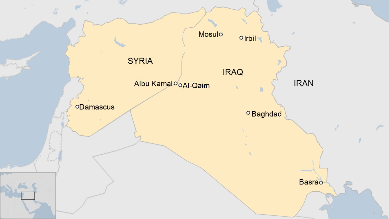 Map of Syria and Iraq