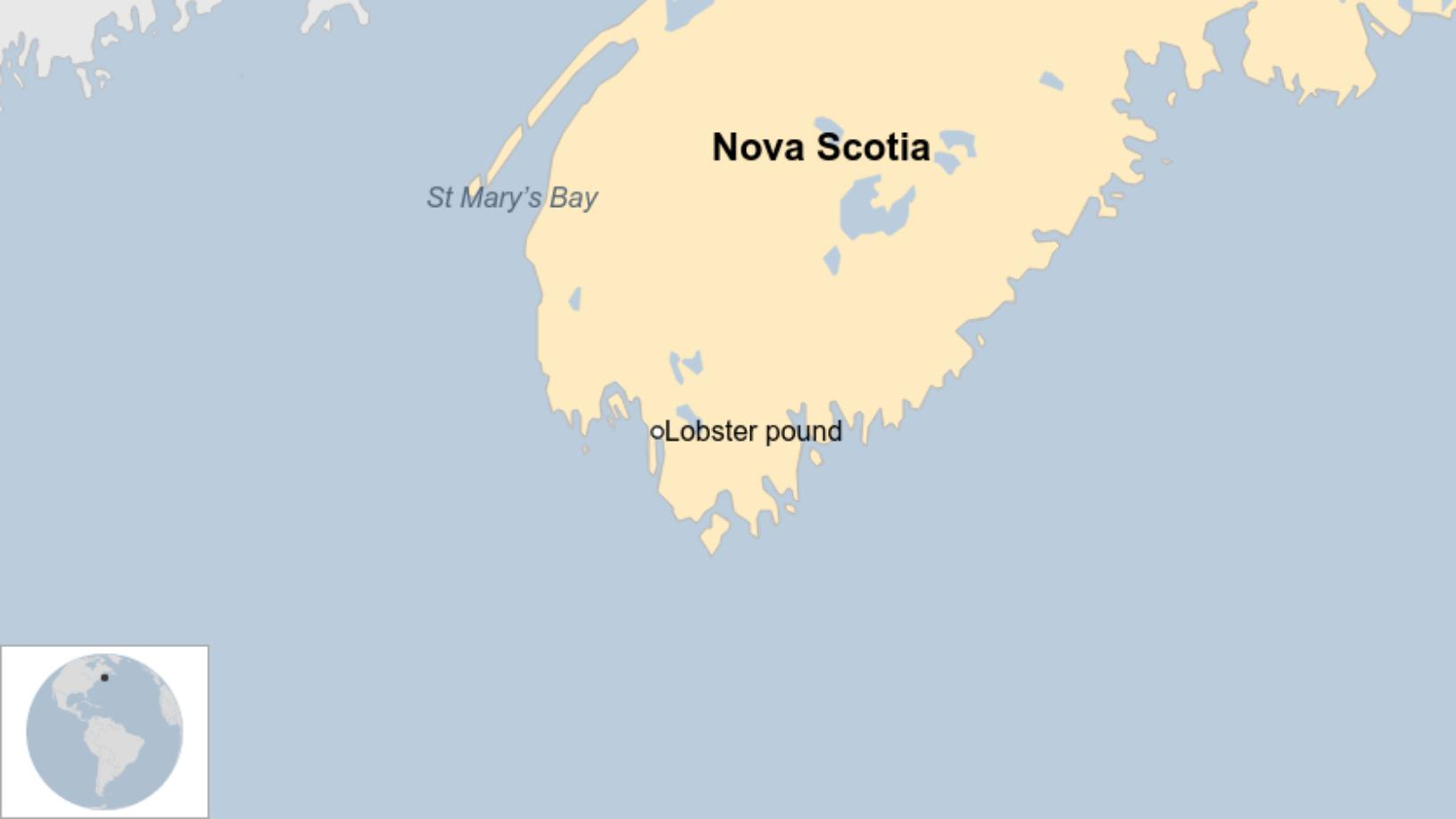Map: Locations of the lobster pound and St Mary's Bay in Nova Scotia.