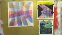 Elfyn Lewis's work in his studio