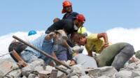 Rescuers in Amatrice