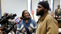Ibn Ali Miller speaks as his mother Sabrina Winters looks on at an Atlantic City Council meeting where he was honored Wednesday March 22, 2017, in Atlantic City.