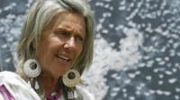 Renowned conservationist Kuki Gallman speak sat the launch of the World Migratory Bird Day, 09, April 2006 at Laikipia where a gathering of artists staged a show on the need to conserve migratory bird species.
