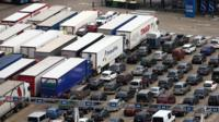Cars and lorries queuing at Dover