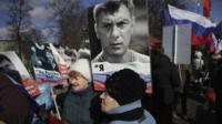 Marchers gather in Moscow for the Nemtsov rally