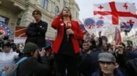 Journalists during a live broadcast at a protest rally outside Georgia's Supreme Court in Tbilisi. Photo: 2 March 2017