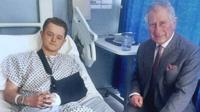 Travis Frain in hospital bed and Prince Charles