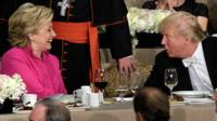 Hillary Clinton and Donald Trump shake hands after speaking during the Al Smith dinner in New York - 20 October 2016