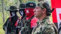 Soldier Freddy Moreno before his release at ELN camp in Arauca