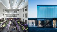 Rhyl High School by AHR (left) and the Silver House, by Hyde + Hyde Architects