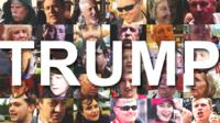 Trump with images of people
