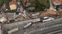 Aerial view of Spain rail crash scene