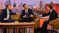 George Osborne, centre, with Ed Balls, left, on the Andrew Marr Show