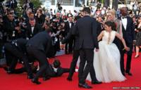 A man is arrested by security in Cannes