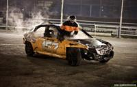 Dan Bramwell, exits his car after an engine malfunction
