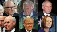 Malcolm Fraser, Bob Hawke, Paul Keating, John Howard, Kevin Rudd and Julia Gillard