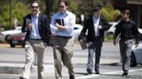 Men crossing road in Silicon Valley