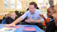 Nick Clegg with schoolchildren